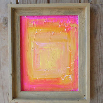 Framed Art, Pink Painting, Yellow Abstract, Pink Abstract, Yellow Painting, Modern Art, Acrylic Painting, Barn Wood Frame, Original Art