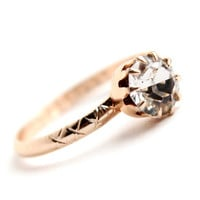 Vintage Germany Art Deco Faux Diamond Ring - 1940s Size 7 Gold Tone Engagement Style Jewelry / X Embossments