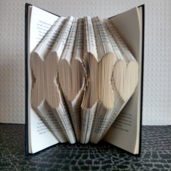 Folded Book Art - XOXO - Book Sculpture - Unique Present - Girlfriend Gift - Boyfriend Gift - Gifts for Book Lovers