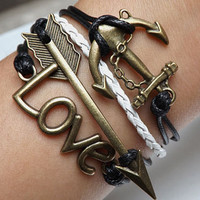 Lovers bracelet--Unisex  Fashion Ancient bronze LOVE,arrow and anchor  black and white Wax rope Braided leather bracelet