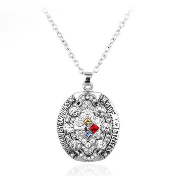 High Quality Crystal Pendant Necklace 2008 Pittsburgh Steelers Champion Necklace Charm Jewelry for Men Women Accessories SP1730