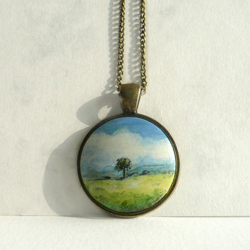 Landscape Necklace, Hand Painted Charm, Necklace Bezel Pendant, Pendant with Chain Nature Painting Meadow, Tiny Painting by Dorota Polland