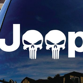 Jeep with Punisher Skull Head Car Window Vinyl Decal Sticker