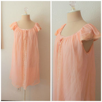 Vintage 60s Powder Pink Nylon Chiffon Babydoll Chemise Mini Nightgown Small