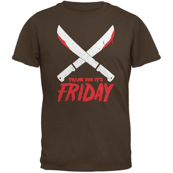 Thank God Its Friday Horror Brown Adult T-Shirt