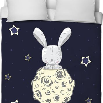 ROB Rabbit on the Moon Duvet Cover