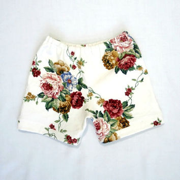 Girls Floral Shorts 4T 5T Up-cycled Vintage Victorian Style Fabric