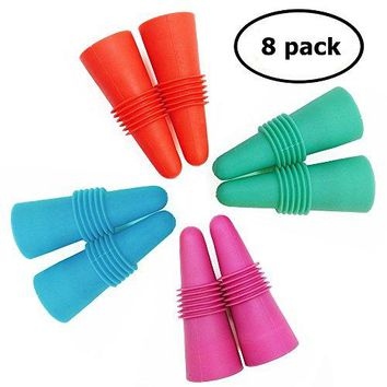 8 pcs of Wine Stoppers ANIN Reusable Silicone Beverage Bottle Sealer Replacement with Grip Top for Cork to Keep the Wine Fresh  Red Pink Green Blue