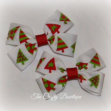 Christmas Trees ~ Clippie PIgtail Hair Bow Set ~  Red, White and Neon Green ~ Christmas Hair Bows ~ Small Boutique Bows ~ Baby Hair  Bows