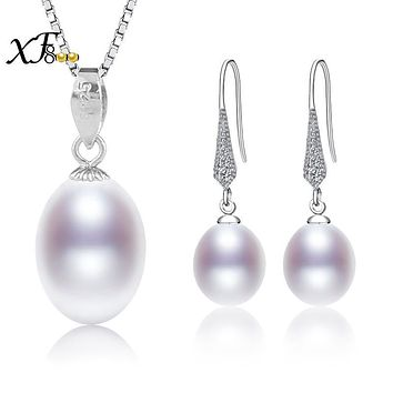 [XF800] 925 Sterling Silver Jewelry Set Natural Freshwater Pearl Necklace Pendant Earrings Wedding Party Gift SET53