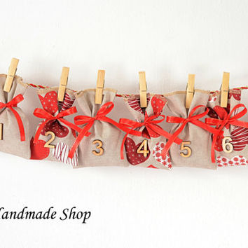 Christmas Advent Calendar, Countdown till Christmas Advent Calendar Bags, Christmas Decor, Advent Bags