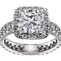 Engagement Ring - Cushion Diamond Eternity Etoil 3 row pave Engagement Ring 1.5 tcw in 14K White Gold - ES542WG