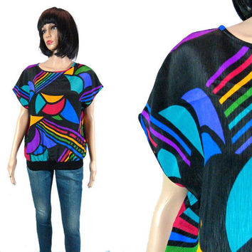 Vintage Rainbow Blouse, Abstract Rainbow Top 80s Geometric Cap Sleeve Shirt, 1980's Slouchy Club Kid Rave Party Shirt, Retro Revival