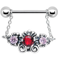 925 Silver Sophisticated Symmetry Red Pink CZ Silver Nipple Ring | Body Candy Body Jewelry