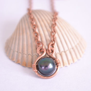 Wire Wrapped Black Pearl and Copper Pendant // Freshwater Pearl Pendant // Bohemian Wire Wrapped Copper Necklace // Boho Bridal Jewelry