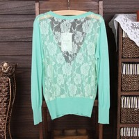 Openwork Lace Sweater green
