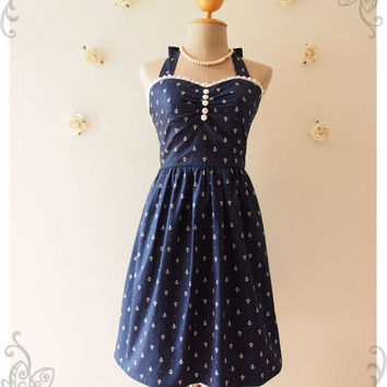 NAUTICAL LOVE Vintage Party Dress Navy Dress Nautical Dress Beach Party Holiday Dress Whimsical Homecoming Prom Cocktail Dress Size S, M, L