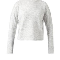 Grey Fine Knit High Neck Top