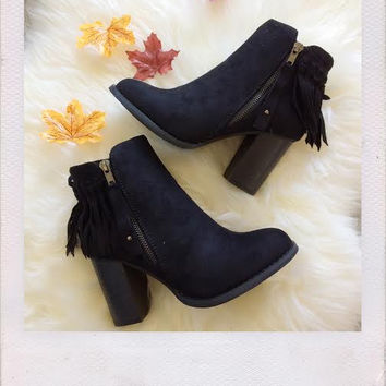 Fringe Me Suede Booties- Black