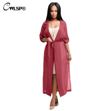 Fashion Red Trench Coat Womens Spring Summer Chiffon Trench Cardigan 2017 Female Notch Neck Casual Coat long duster coat QZ1793