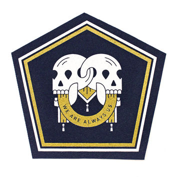 Hex Skulls Felt Patch - Navy