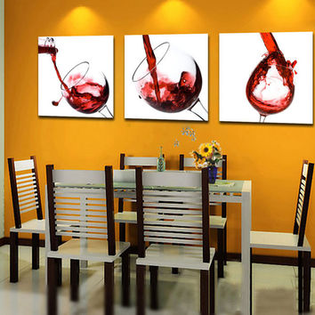 3 Panel Red Wine Modern Wall Hanging Set, Oil Painting, Art Picture, Dinner Restaurant Room Glass Red Wine Decorative Canvas Painting, Home Decor