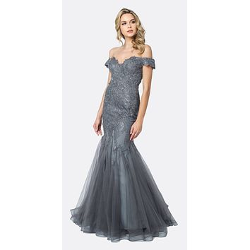 Embellished Lace Off the Shoulder Charcoal Mermaid Prom Dress