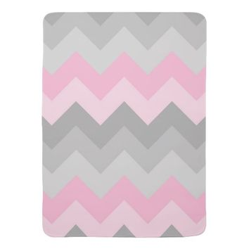 Pink Grey Gray Ombre Chevron Baby Girl Nursery Stroller Blanket