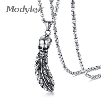 Modyle Punk Skull Feather Pendant For Men Necklace Stainless Steel Rocky Hip-hop Skeleton Male Jewelry