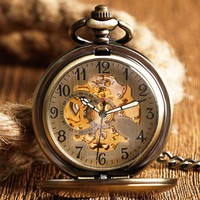 Stainless Steel Gold Pocket Watch