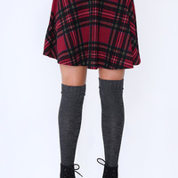 Sugar Plaid Skater Skirt - Red