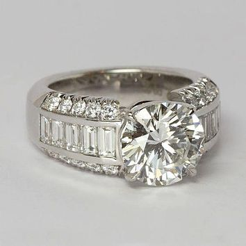 SALE  A Perfect 3.3CT Round Cut Brilliant Russian Lab Diamond Baguette Accents Ring
