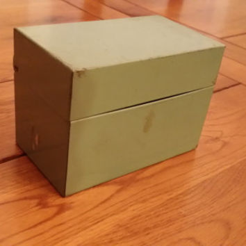 Small Vintage Metal Industrial Army Green Card File Box Great for Recipes Small Photos Organization Storage