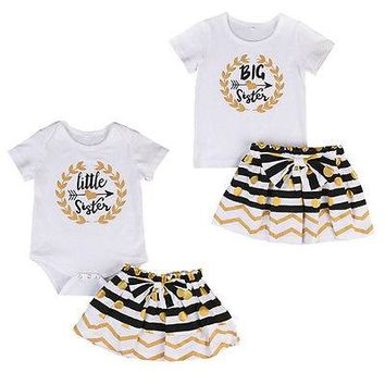 Family sister set Infant Baby Girl Little Big Sister Matching Clothes Romper T-shirt Dress Outfits