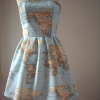 World Map Printed Strapless Cotton Summer Dress.