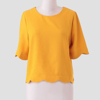 Full Of Sunshine Scallop Top