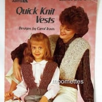 Quick Knit Vests Knitting Pattern Leaflet Adult Women Girls Leisure Arts 346 Vintage