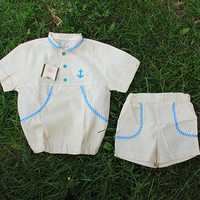 NEW Soviet Sailor Set / Specked Light Oatmeal, Blue Cotton Cotton Toddler Summer Suit: Shirt & Shorts / USSR Nautical Anchor Beach Set, 2-3