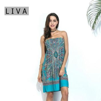 PEAPGC3 Beach Tunic 2017 Summer Style Boho Women Cover Up Sexy Sundresses Ethnic Printed Tunic Beach Dresses Strapless Swimsuit Cove up