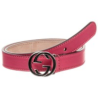 NWT NEW Gucci kids girls boys GG belt zaffiro blue or pink yarrow M L 258395