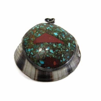 Vintage Crushed Turquoise Pottery Clam Shell Santo Domingo Sterling Pendant