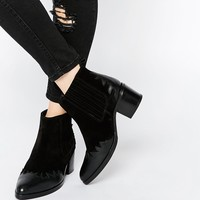ASOS ROUND UP Wide Fit Western Leather Ankle Boots