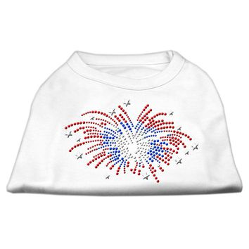 Fireworks Rhinestone Dog Shirt White
