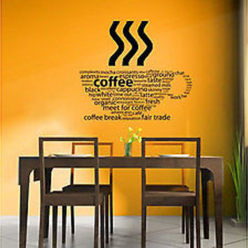 Coffee Cup Kitchen Decal Wall art Kitchen Cooking Art Chef decor Vinyl tr1830