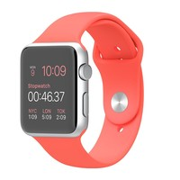 Apple Watch Sport - 42mm Silver Aluminum Case with Pink Sport Band