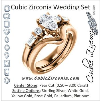 CZ Wedding Set, featuring The Sarah engagement ring (Customizable 5-stone Design with Pear Cut Center and Baguette/Round Bar-set Accents)
