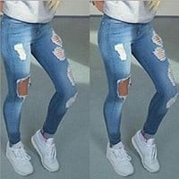 Boyfriend Hole Ripped Jeans Women Pants Cool Denim Vintage Straight Jeans For Girl High Waist Casual Pants Female Slim Jeans