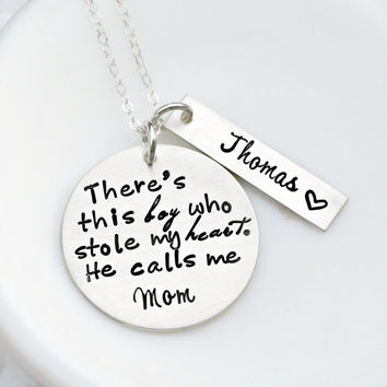 Hand Stamped Jewelry - Mother Son Necklace - Sterling Silver Necklace - Mommy Necklace