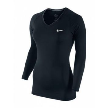 Nike Women's Pro V-Neck Long Sleeve Compression T-Shirt