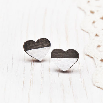 Black Heart Earrings, Wooden Black Jewelry for her, bridesmaid earrings, Ear Posts, Heart Tiny Earring, Stud Valentine's Day Gift